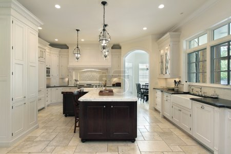 Photo for Luxury kitchen in suburban home with white cabinetry - Royalty Free Image
