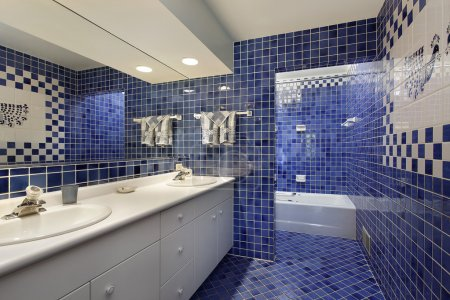 Photo for Bathroom in upscale home with blue tile - Royalty Free Image