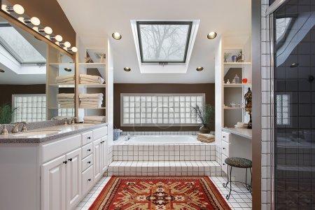Master bath with skylight
