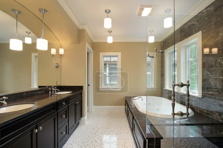 Master bath with black tub area