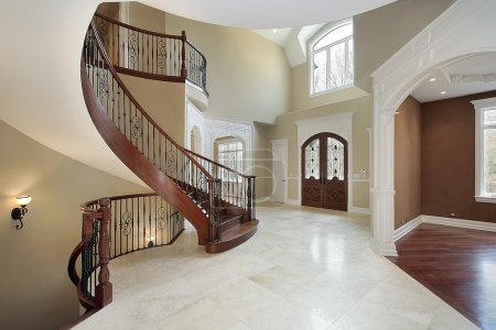 Foyer and staircase in luxury home