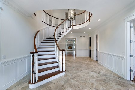 Photo for Foyer in new construction home with marble flooring - Royalty Free Image