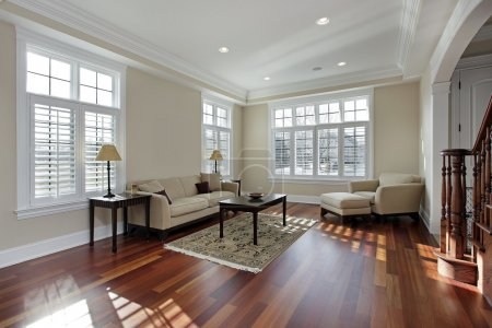 Photo for Living room in luxury home with cherry wood flooring - Royalty Free Image