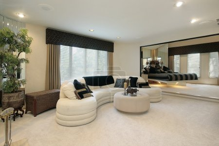 Living room with mirrored walls
