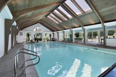 Indoor swimming pool with skylights