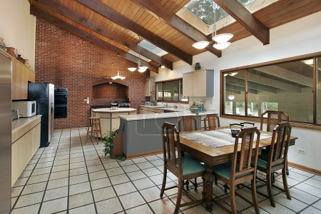 Large kitchen with skylights