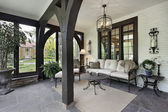 Porch with wood beams