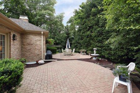 Brick patio with rock garden