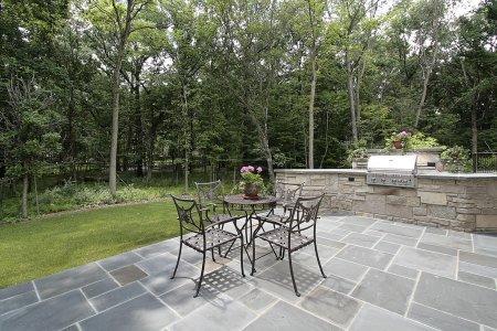 Bluestone patio and stone grill