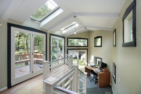 Office area with skylights