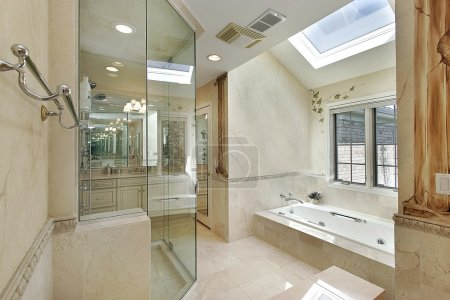 Luxury master bath with skylight