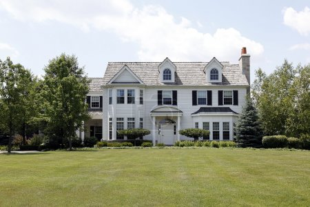 White colonial home in suburbs