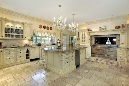 Photo for Traditional kitchen with large island and stove - Royalty Free Image