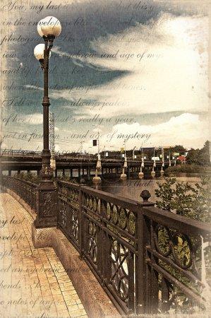 Photo pour Remblai dans le style des cartes postales anciennes - image libre de droit