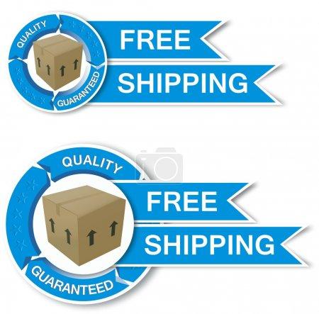 Ilustración de Envío gratuito de la etiqueta engomada con caja interior - 2 estilos - Imagen libre de derechos
