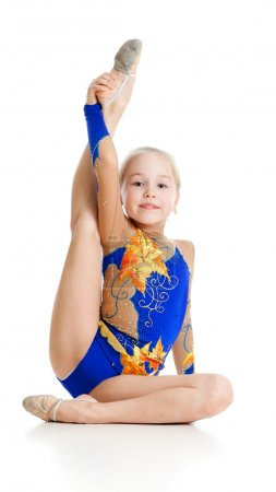 Pretty girl gymnast over white background