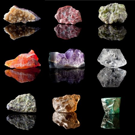 Series of semi-precious gemstones in uncut unpolis...