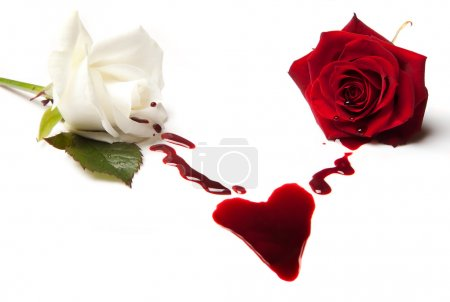 Photo for Two bleeding roses forming a heart shaped blood stain - Royalty Free Image