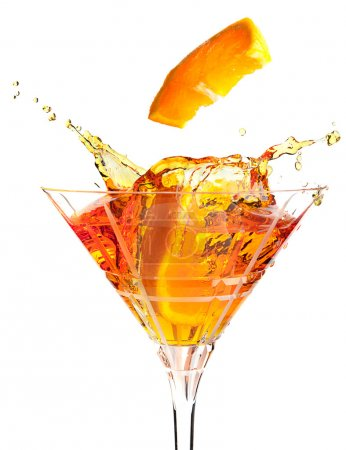 Photo for Slices of orange causing splashes in a cocktail - Royalty Free Image