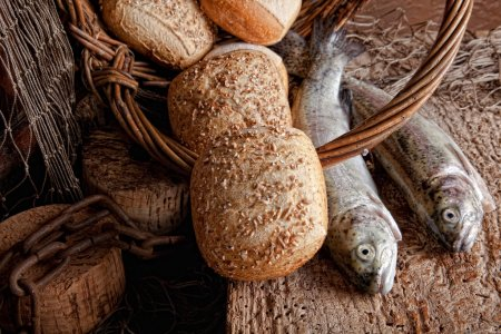 Photo for Vintage still life of fresh fish and loaves of bread - Royalty Free Image