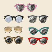 Set of cartoon retro sunglasses