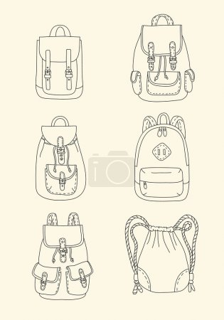 Illustration for Set of retro trendy backpacks in cartoon style - Royalty Free Image
