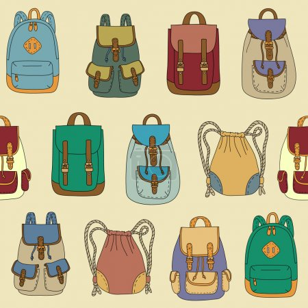 Illustration for Seamless pattern with various backpacks - Royalty Free Image