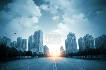Photo for City high-rise buildings and roads - Royalty Free Image