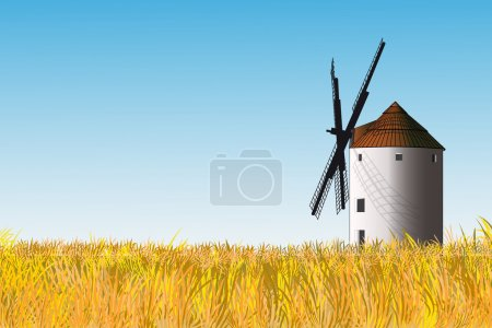 Illustration for Illustration of a Spanish windmill in a yellow grass field - Royalty Free Image