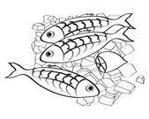 Vektorové čerstvé ryby a citron na ledě
