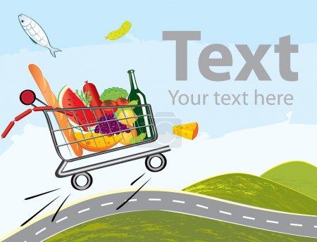 Illustration pour Chariot vectoriel rempli de délicieux aliments conduisant sur la route - image libre de droit