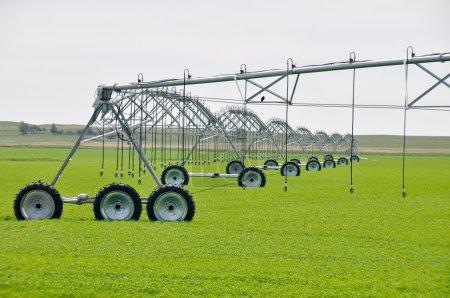 Photo pour Arroseurs automatiques d'irrigation dans un champ agricole (Canada ) - image libre de droit