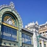 Facade of Abando train station, Bilbao (Spain)...