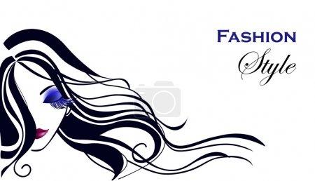 Illustration pour Belle fille aux cheveux longs - image libre de droit