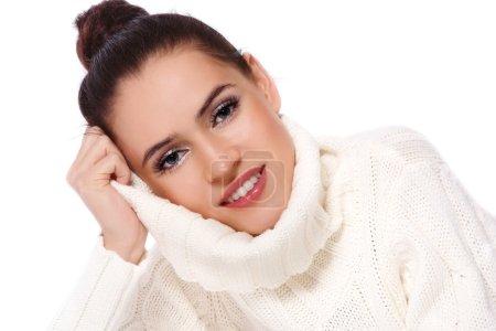 Girl in white pullover