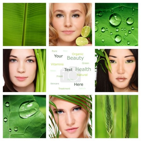 Photo for Collage with four beautiful healthy women, green leaves and plants. Organic skincare, beauty, health. Copy space. - Royalty Free Image