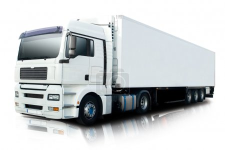 Photo for White Semi Truck Isolated - Royalty Free Image