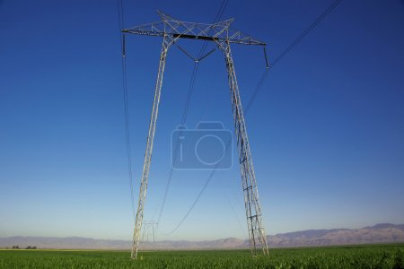 Power Line Tower in open field