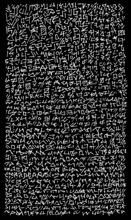 Abstract Alien Hieroglyphic Encryption Writing Background