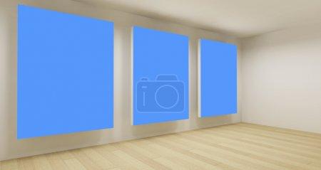 Foto de Habitación de negocios, espacio vacío 3d con tres fotogramas clave de croma azul - Imagen libre de derechos