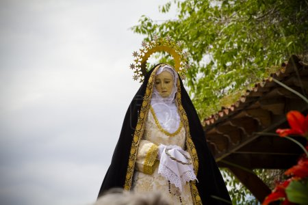 Typical spanish easter celebration procession of the christ of m