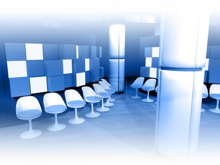 Hospital waiting room, white chairs