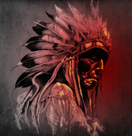 Photo for Tattoo art, portrait of american indian head over dark background - Royalty Free Image