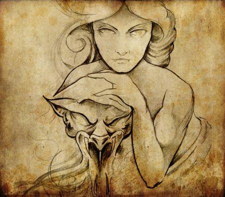 Photo pour Tatouage art, croquis de femme mistique - image libre de droit