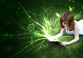 The pleasure of reading, a world of fantasy and imagination.