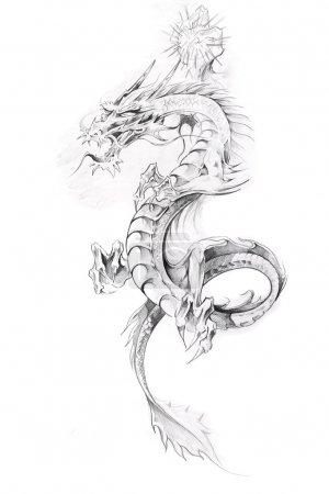 art de tatouage, esquisse d'un dragon