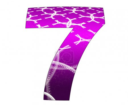 7 number with abstract design