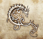 Sketch of tattoo art, decorative dragon