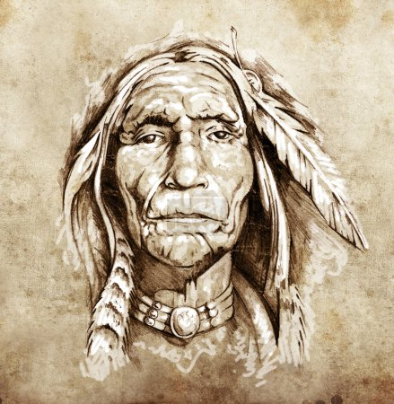 Photo for Sketch of tattoo art, portrait of american indian head - Royalty Free Image