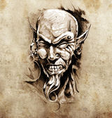 Sketch of tattoo art, devil head with piercing